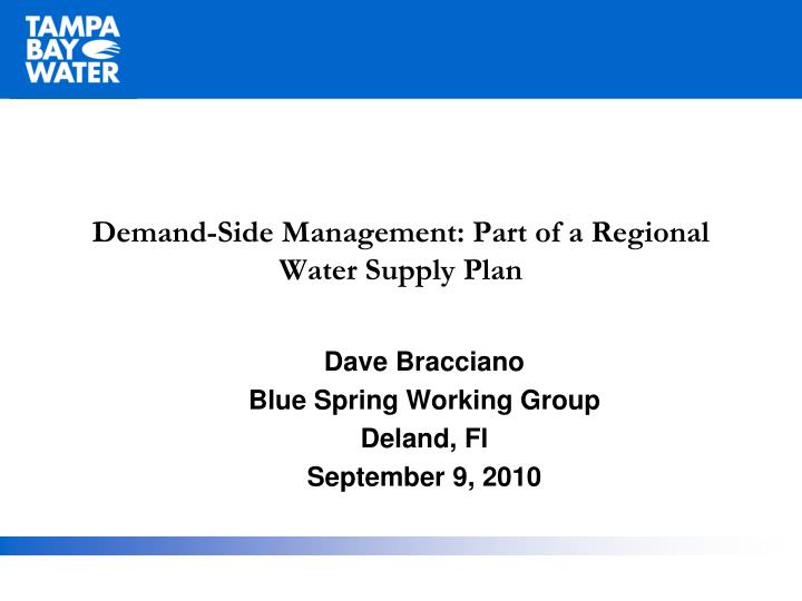 demand side management part of a regional water supply plan n.