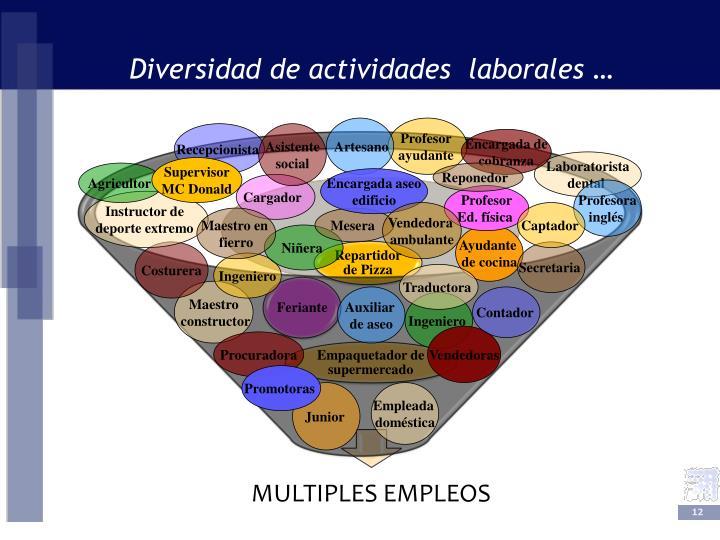 Diversidad de actividades  laborales …