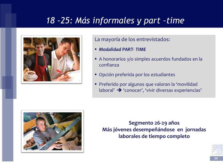18 -25: Más informales y part –time