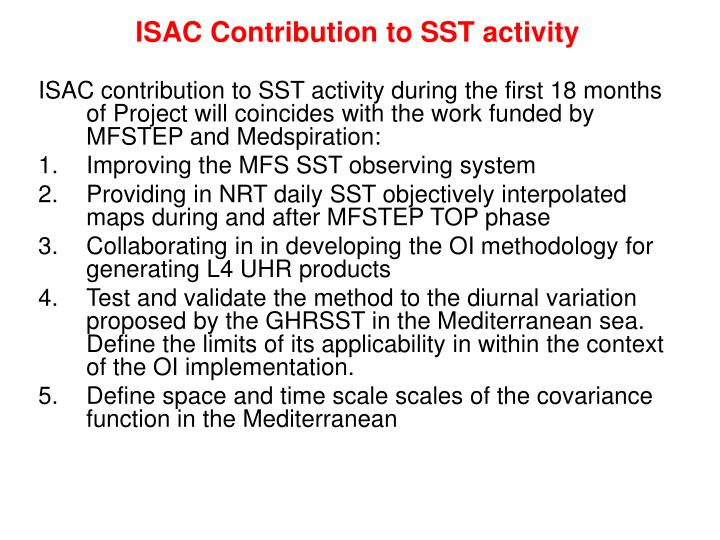 isac contribution to sst activity n.