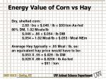energy value of corn vs hay