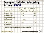 example limit fed wintering rations ddgs