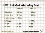 uw limit fed wintering diet