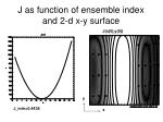 j as function of ensemble index and 2 d x y surface