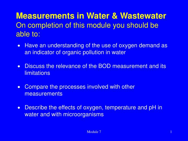 measurements in water wastewater on completion of this module you should be able to n.