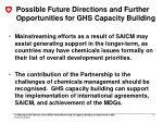 possible future directions and further opportunities for ghs capacity building