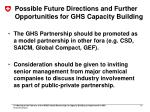 possible future directions and further opportunities for ghs capacity building1