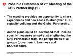 possible outcomes of 2 nd meeting of the ghs partnership 1