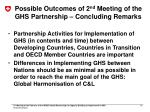 possible outcomes of 2 nd meeting of the ghs partnership concluding remarks