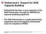 switzerland s support for ghs capacity building
