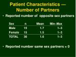 patient characteristics number of partners
