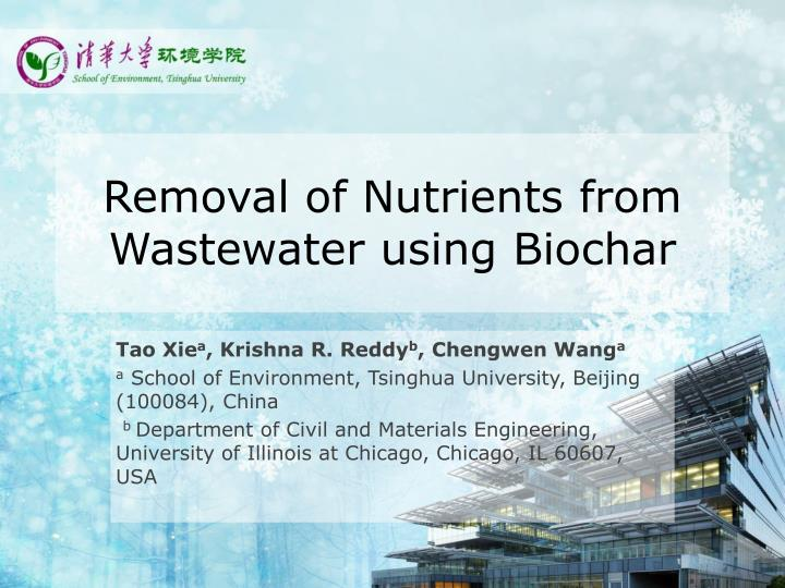 removal of nutrients from wastewater using biochar n.