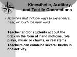 kinesthetic auditory and tactile connections