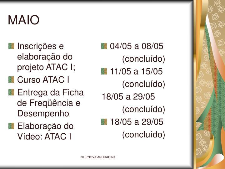 Inscrições e elaboração do projeto ATAC I;