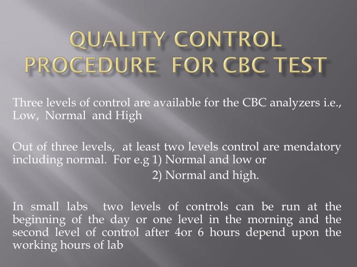 quality control procedure for cbc test n.