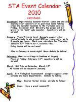 sta event calendar 2010 continued