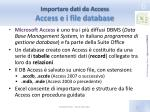 importare dati da access access e i file database