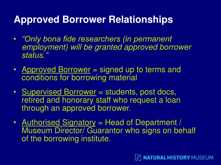 Approved Borrower Relationships