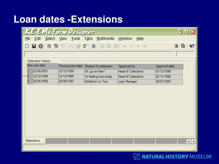Loan dates -Extensions