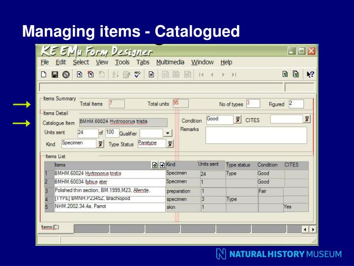 Managing items - Catalogued