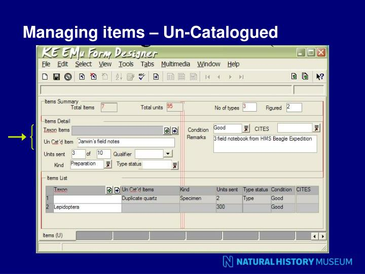 Managing items – Un-Catalogued