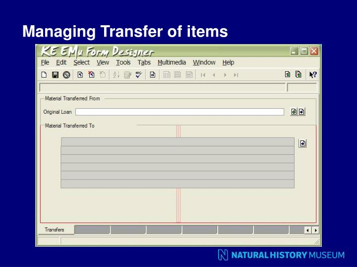 Managing Transfer of items