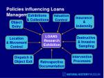 policies influencing loans management