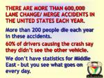 there are more than 600 000 lane change merge accidents in the united states each year