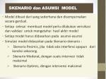skenario dan asumsi model