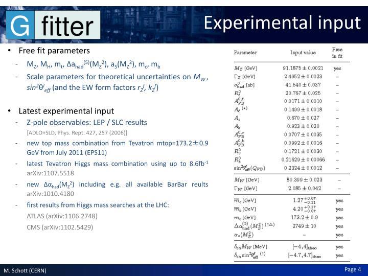 Experimental input