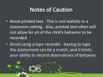 notes of caution