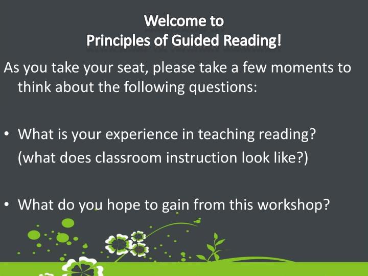 welcome to principles of guided reading n.