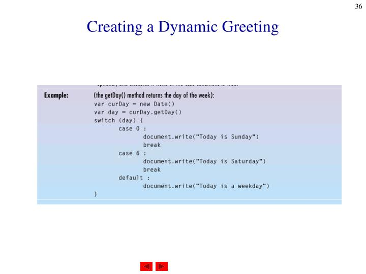 Creating a Dynamic Greeting