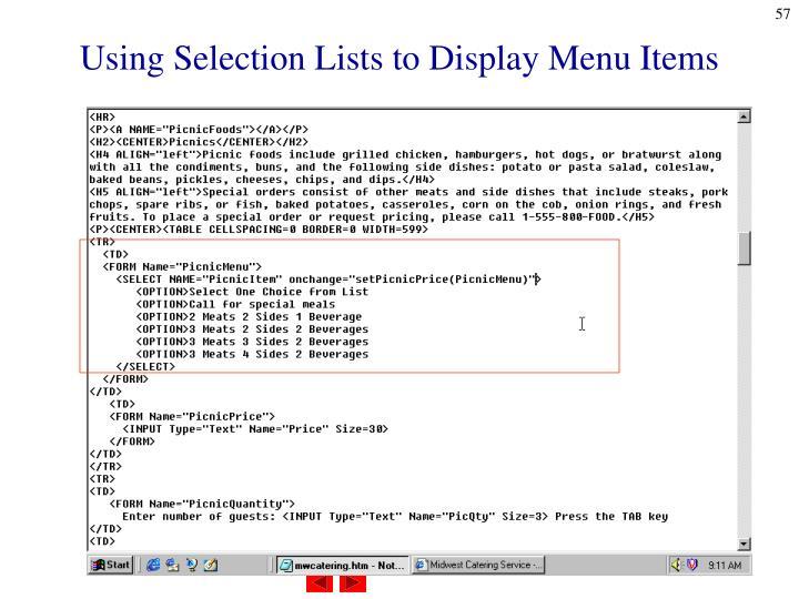 Using Selection Lists to Display Menu Items