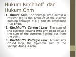 hukum kirchhoff dan hukum ohm