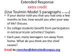 extended response extra credit use toulmin model 5 paragraphs or more