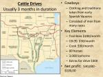 cattle drives usually 3 months in duration