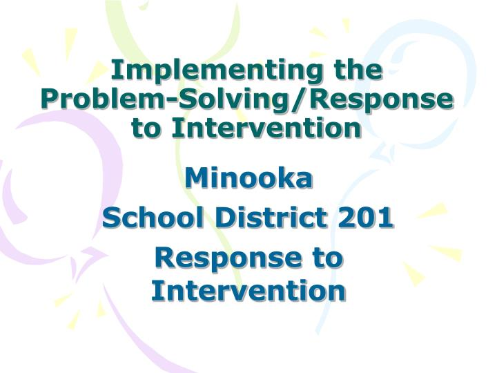 implementing the problem solving response to intervention n.