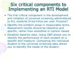 six critical components to implementing an rti model
