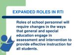 expanded roles in rti