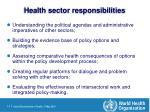 health sector responsibilities