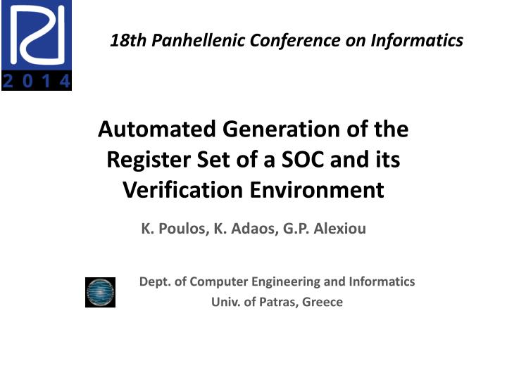 automated generation of the register set of a soc and its verification environment n.