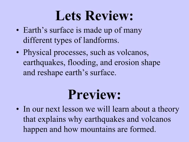 Lets Review: