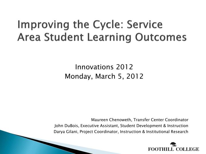improving the cycle service area student learning outcomes n.