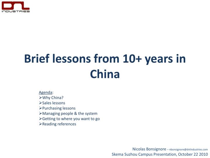 brief lessons from 10 years in china n.