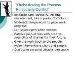 orchestrating the process particularly conflict