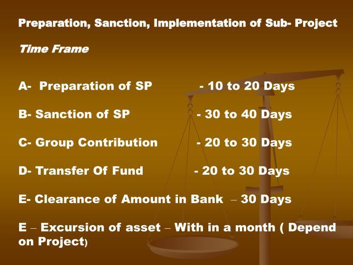 Preparation, Sanction, Implementation of Sub- Project