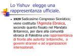lo yishuv elegge una rappresentanza ufficiale