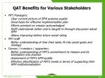 qat benefits for various stakeholders
