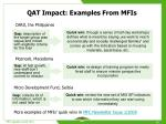 qat impact examples from mfis